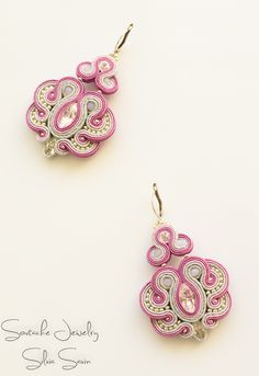 Pink / Silver Soutache earrings with swarovski crystals, firepolish beads and Preciosa beads