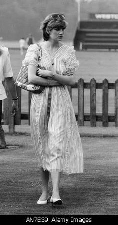 Lady Diana Spencer at Windsor watching her fiancé, Prince Charles in a polo match.
