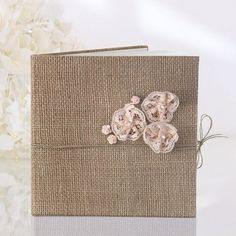 Burlap Hessian Roses Lace Guest Book Wedding Party | eBay