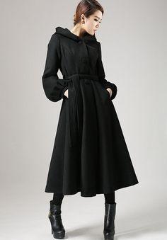 Black wool cape hooded coat Military coat  724 by xiaolizi on Etsy, $239.00