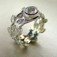 Custom Made Platinum Engagement Ring Set. Wedding Set.