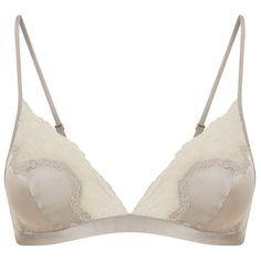 Aubade Projection Privée Triangle Bra (£68) ❤ liked on Polyvore featuring intimates, bras, no wire bra, silk bra, wireless bras, no underwire bra and lingerie bras