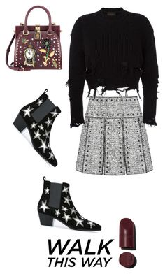 """""""Untitled #1605"""" by christawallace on Polyvore featuring Valentino, adidas Originals, Yves Saint Laurent and Dolce&Gabbana"""