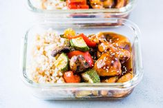 Teriyaki Chicken Stir Fry Meal Prep Lunch Boxes are the easiest way to make sure you are ready for the entire work week ahead in under an hour!