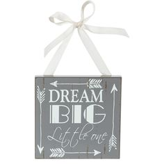 The Buttons & Bows Dream Big Little One Arrow Print Wooden Door Hanger - Gray Features:<br><ul><li>Made of wood with painted details.</li><br><li>Includes satin ribbon for hanging.</li><br><li>Playful arrow design and distressed wood look.</li><br><li>Perfect for any shabby chic or rustic room.</li><br><li>Approximate dimensions are 6 Inches x 0.5 Inches  x 4.5 Inches</li&...