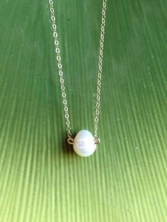 Simple Freshwater Pearl and 14k Gold Filled Chain by AmiAbo