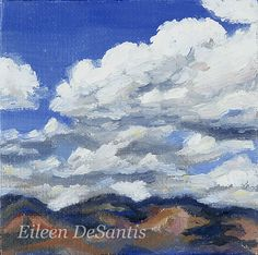 Original oil painting of clouds and mountains on by EileenDeSantis