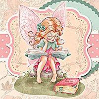 Bookworm Fairy - Digital Stamp