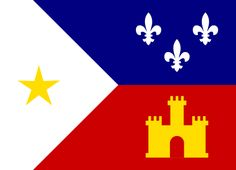 Official flag of the Acadiana region adopted by Lousisana Legislature in 1974.