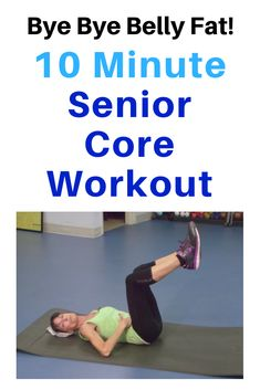 10 Minute Core Workout To Blast Belly Fat - Fitness With Cin.- This low impact workout will help you say goodbye to belly fat in your abdominal area without pulling, jerking or straining. Do this exercise routine 3 times a week and you'll see results! Yoga Fitness, Fitness Workout For Women, Senior Fitness, Physical Fitness, Fitness Diet, Senior Workout, Ab Workouts, Workout Videos, At Home Workouts