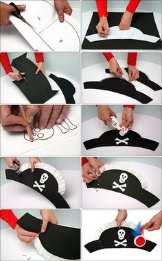 DIY Tutorial DIY Halloween / 4 easy DIY Halloween hat crafts for kids to complete their costume - Bead&Cord Pirate Day, Pirate Birthday, Pirate Theme, Birthday Diy, Birthday Parties, Halloween Costumes For Kids, Halloween Crafts, Diy Pirate Costume For Kids, Pirate Hats For Kids