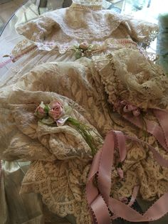 Antique Tambour lace mixed w antique laces, made it for my antique Effanbee doll!!!