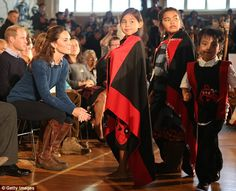 William and Kate watched a performance by local children as part of the traditional welcome