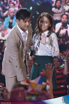 """This is Kathryn Bernardo and Daniel Padilla smiling after their performance of the 2015 ABS-CBN Christmas station ID theme song, """"Thank You for the Love!"""" during the ASAP Christmas Countdown at ABS-CBN Studio 10 last November 15, 2015."""