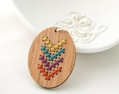 DIY Cross Stitch Necklace Kit Bamboo Heart Pendant in Blue