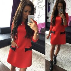 Women Bow Mini Dress Straight Casual 3/4 Sleeve Solid Loose Dress