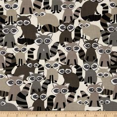 Michael Miller Ricky Racoon Taupe from @fabricdotcom  Designed for Michael Miller Fabrics, this fabric is perfect for quilting, apparel and home décor accents. Colors include white, black, tan, taupe and ivory.