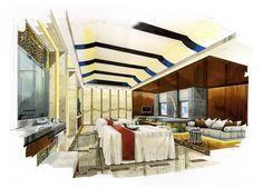 Grand Four Wings Convention Hotel Interior Design Sketches, Interior Design Living Room, Interior Designing, Sketch Design, Perspective, Hotel Floor Plan, Floor Plan Layout, Dream House Interior, Bedroom Color Schemes