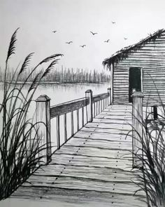 Art Drawings Beautiful, Art Drawings Sketches Simple, Realistic Drawings, Pencil Sketches Of Nature, Landscape Pencil Drawings, Pencil Art Drawings, Simple Landscape Drawing, Amazing Pencil Drawings, Simple Nature Drawing
