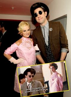 leslie knope and jim halpert as andie and duckie! So happy! #prettyinpink #theoffice #parksandrec