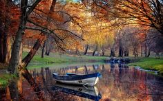 General 2500x1563 landscape fall boat park pond reflection trees nature water grass