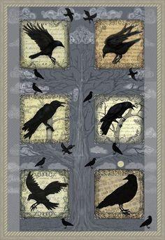 Crows Ravens:Ravens in Twilight Cheater Quilt - by Kara Skye. Crow Art, Raven Art, Bird Art, Theme Halloween, Halloween Quilts, Vogel Quilt, Crow Pose, Bird Quilt, Jackdaw