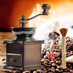 Log vintage hand grinder manual coffee beans dismembyator incenerator household brush