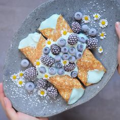 breakfast crepes with coconut cream smoothie filling and frozen berries. Kreative Desserts, Rainbow Food, Blue Food, Cute Desserts, Food Goals, Aesthetic Food, Food Cravings, Food Presentation, Food Art