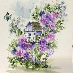 I met a sweet lady at the Ontario Scrapbook expo who suggested I make her a sample with the birdhouse grounded! I think it's cute and totally overgrown, so my style. Lol! Thank you for the idea Annette! I hope you enjoy the card!