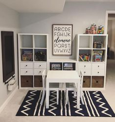 How gorgeous is this playroom?! It's inspiring me to redo my kids play area too! And checkout our elemeno sign 😍 It was a custom size… Office Playroom, Boys Playroom Ideas, Small Playroom, Playroom Signs, Bonus Room Playroom, Playroom Layout, Ikea Playroom, Organized Playroom, Children Playroom