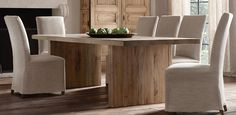 Reclaimed Russian Oak Plank Dining Table Rectangle | Restoration Hardware This table makes my heart go pitter pat
