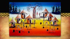 African Art - village sunrise. Original acrylic on canvass street art from South Africa. See the full range plus 3000 other African products on our website www.earthafricacurio.com. Please also watch our YouTube videos. Art Village, African Art, South Africa, Street Art, Sunrise, Range, Website, Watch, The Originals
