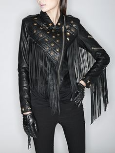 Love Love LOVE Fringe! Black and Gold Star Biker Jacket With Tassels  Detail #Sexy #Black_and_Gold #Star #Fringe #Leather #Biker #Jacket