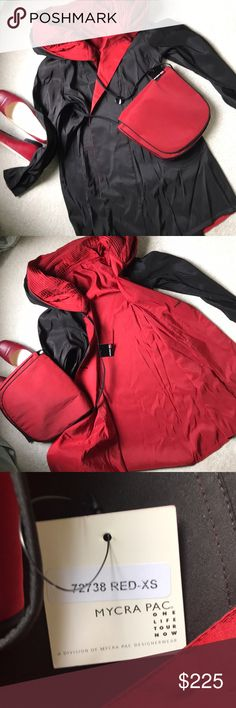 Mycra Pac Mini reversible raincoat & crossover bag Gorgeous black to red Mycra Pac, new, never worn. Selling for a friend who bought it for her trip to Italy and France and had packed, very sparely just red, black, and white - and then forgot to pack this!  Needless to say, she was so upset, she's never worn it since!  Too small for me, but love these fabulous coats - I've got 2! Just trying to help her recoup some funds on this great new coat! Mycra Pac Jackets & Coats