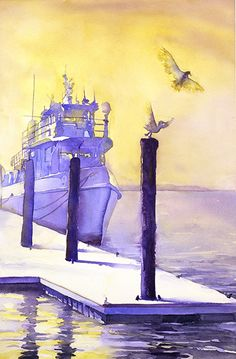 Watercolor painting of seagulls and tugboat at Morehead City, NC- Ryan Fox