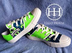 Shop for shoes on Etsy, the place to express your creativity through the buying and selling of handmade and vintage goods. Halo House, Seattle Sounders, Hand Painted Shoes, Custom Paint, Ol, Converse, Soccer, Gift Ideas, Sneakers