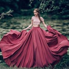 2017 Custom Made Pink Lace Prom Dress,Burgundy Two Pieces Evening Dress,Short Sleeves Party Gown,Floor Length Prom Dress,High Quality