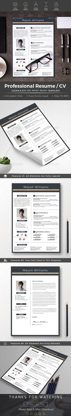 #Resume - Resumes #Stationery Download here: https://graphicriver.net/item/resume/19243496?ref=alena994
