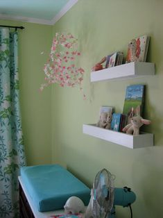 Floating shelves for above the changing table.  Another project to add to WM's list.