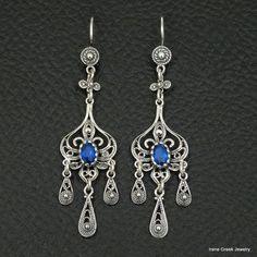 BLUE SAPPHIRE CZ FILIGREE STYLE 925 STERLING SILVER GREEK HANDMADE ART EARRINGS #IreneGreekJewelry #DropDangle