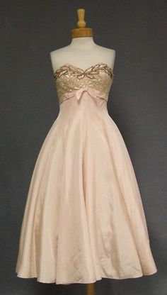 Pale Pink Taffeta Fred Perlberg 1950's Cocktail Dress w/ Sequins