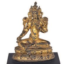 SMALL GILT BRONZE FIGURE BUDDHA  OF A SEATED TARA NEPAL 15TH CENTURY OR LATER 15th Century, Buddhism, Nepal, Bronze, Statue, Antiques, Vintage, Antiquities, Antique