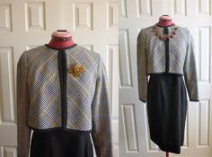 Leslie Fay dress with attached crop blazer. formal dress.