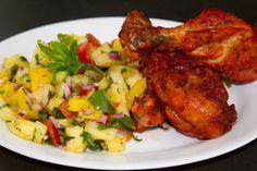 fabulous friday: BBQ Chicken (Tandoori Chicken) with Pineapple sala...