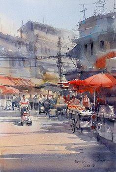 Bangkok (watercolor, 34x48 cm), Direk Kingnok