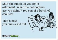 I would NEVER verbally abuse my child like this even in jest but the alternative words are funny and I may employ them in general!
