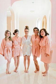 55301e47b8 Bridesmaid Robes Coral wedding robes peach bridesmaid silk robe dressing  gown personalized silk robe