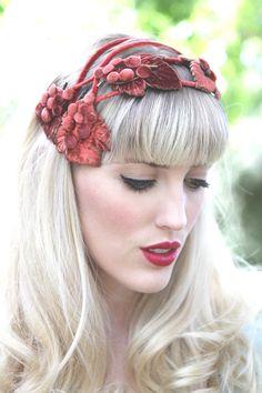Vintage 1940s Crown Head Wear / French Headdress / Red Velvet Fascinator Hat via Etsy