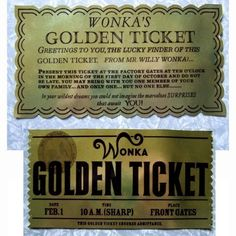 Golden Ticket from Willy Wonka and Charlie and the by CreativePal, $20.00