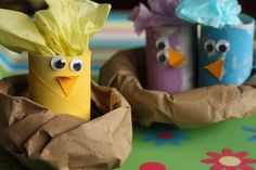 toilet roll peeps in paper bag nests - an easy easter craft for kids